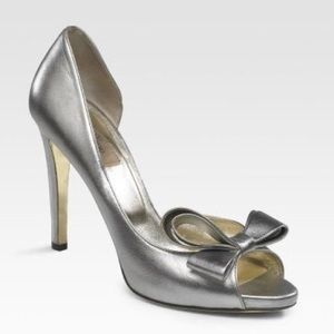 VALENTINO Couture Bow D'Orsay Silver Leather Heels
